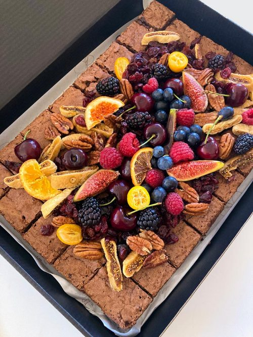 brownie platter with dried fruits and fruits